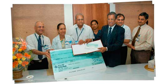 An image from Indian Bank extends support to Sankara Nethralaya